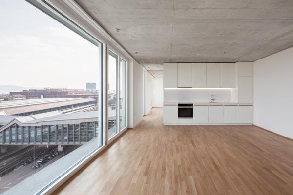 Musterwohnung 6.OG, Meret Oppenheim Hochhaus, Basel, Herzog de Meuron Architekten, Basel, Switzerland, CHE, © B o e r j e  M u e l l e r  P h o t o g r a p h y , k o n t a k t @ b o e r j e m u e l l e r . c o m